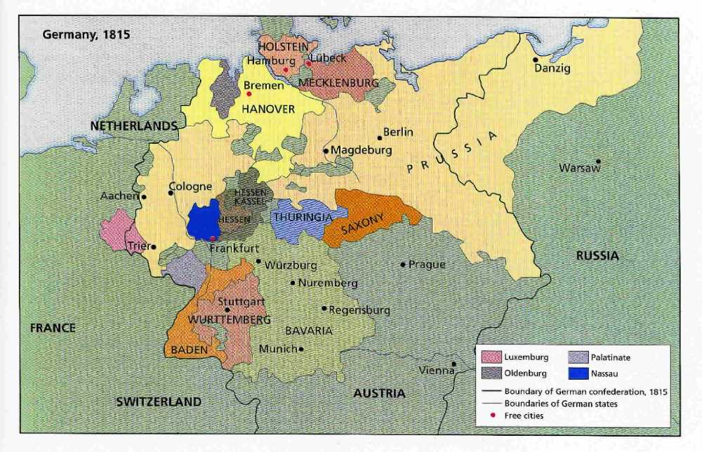 map of german confederation 1815
