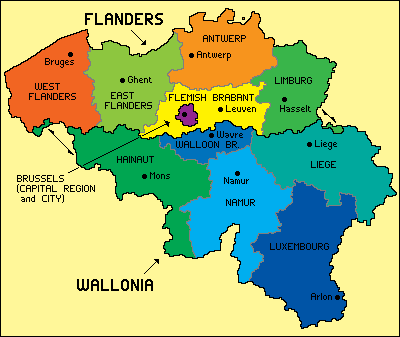the country of belgium is divided into three regions two of these regions the flemish region or flanders and walloon region or wallonia